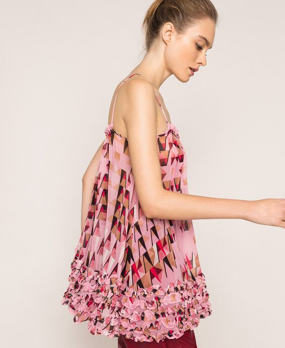 Printed georgette top with micro frills