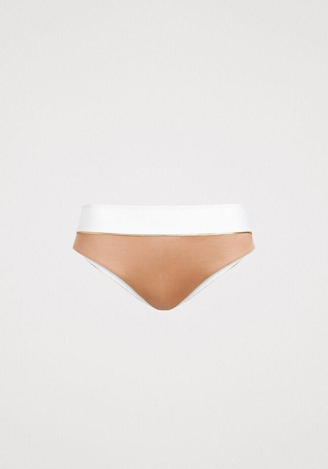Glänzende Bikinihose mit Kontrastbund