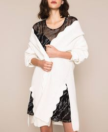 Maxicardigan mit Wellenrändern Weiß Schnee Frau 201TP3020-04