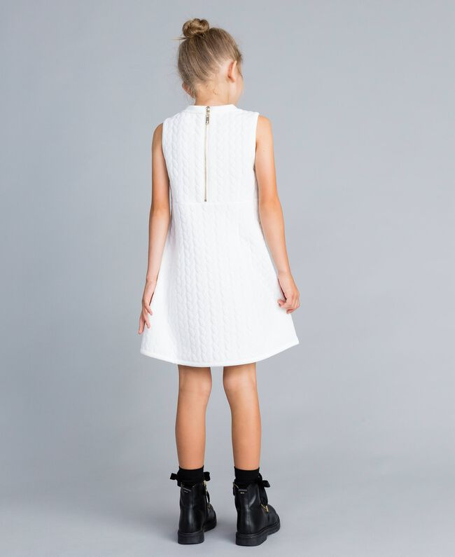 Matelassé fleece dress with rhinestones Off White Child GA82NP-03