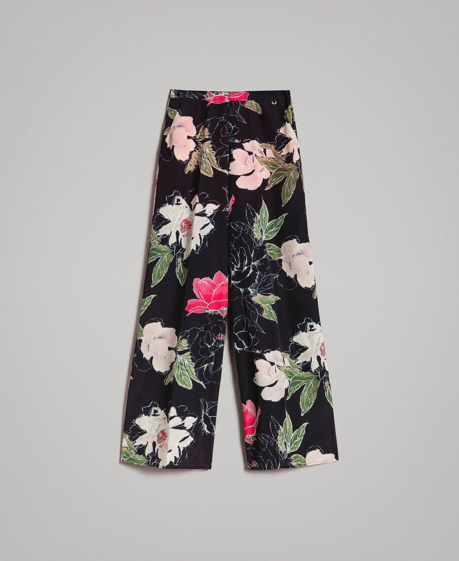 Pantalones de crepé de China con estampado floral Estampado All Over Flores Negro Mujer 191MT2212-0S