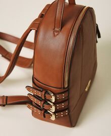 Faux leather backpack with straps Leather Brown Woman 202MA7042-03