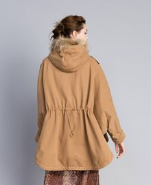 Cotton drill cape Camel Woman PA82L6-04