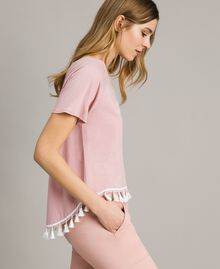 "T-Shirt mit Quasten ""Pink Bouquet"" Pink Frau 191LB2CCC-03"