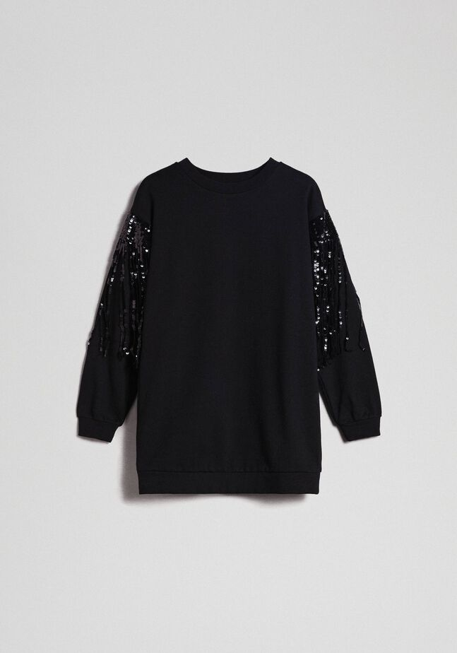 Maxi sweatshirt with sequinned fringes