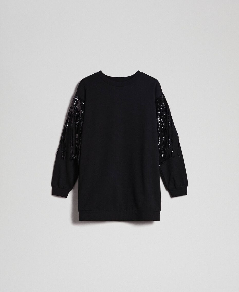 Maxi sweatshirt with sequinned fringes Black Woman 192MT2160-0S