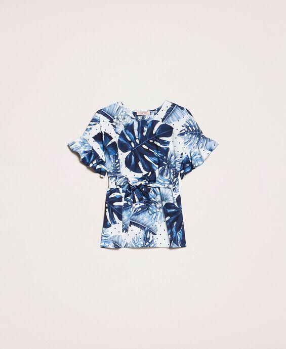 Printed poplin T-shirt