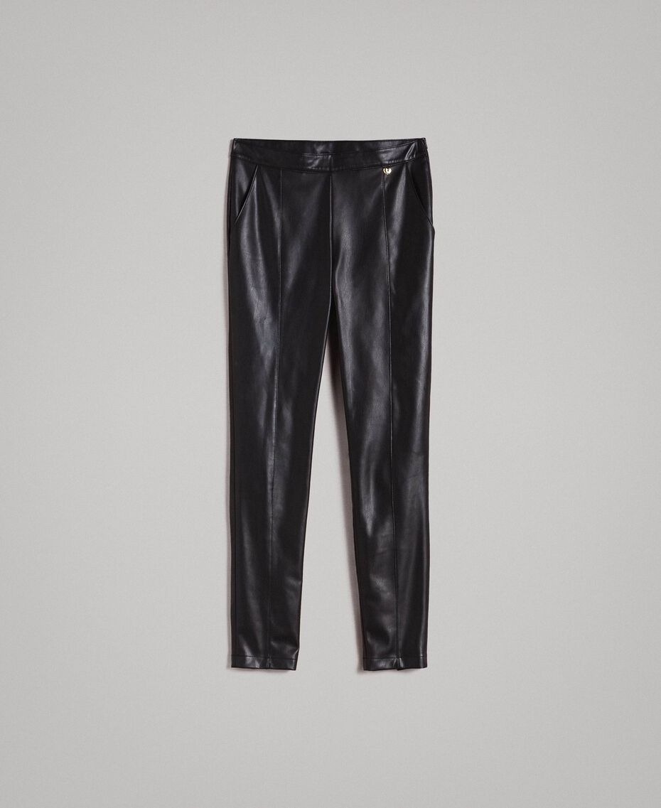 Faux leather skinny trousers Black Woman 191MP2260-0S