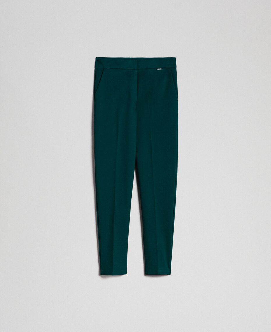 "Cigarette trousers with pockets ""Forest"" Green Woman 192ST2134-0S"