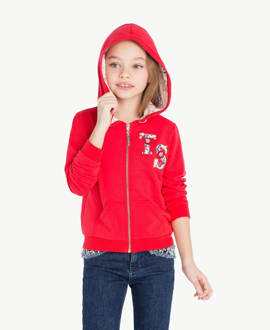 Sweat-shirt logo Bicolore Rouge Grenadier / Fleurs Chantilly Enfant GS82SN-02