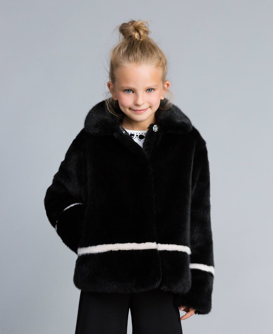 "Faux fur jacket Bicolour Black / ""Blush"" Pink Child GA82AN-0S"