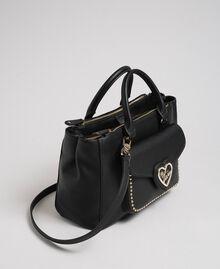 Two-tone faux leather shopper Black Woman 192MA7100-01