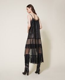 Full-length tulle and lace dress with sequins Black Woman 202TT2250-03