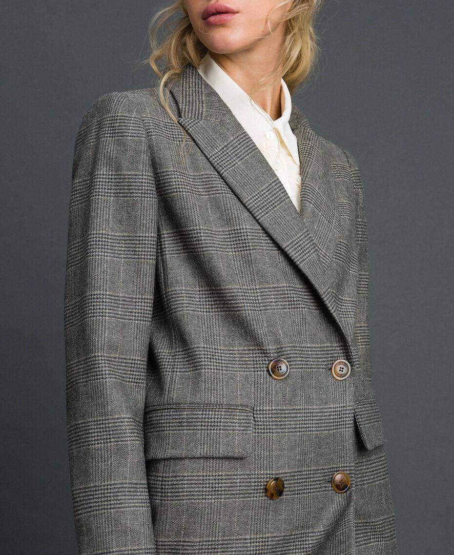 Glen plaid double breasted jacket Lurex Dark Grey Wales Design Woman 192TT2443-03