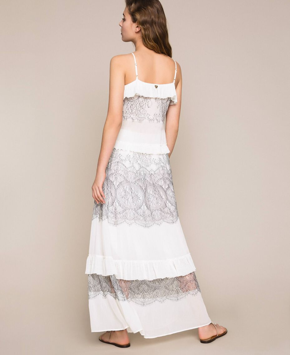 Long pleated skirt with two-tone lace White Snow Woman 201TT2144-03