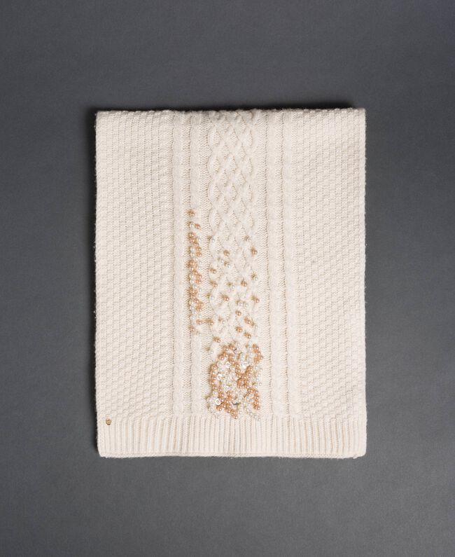 Écharpe en maille torsadée avec broderie Blanc Papyrus Femme 192TA4410-01