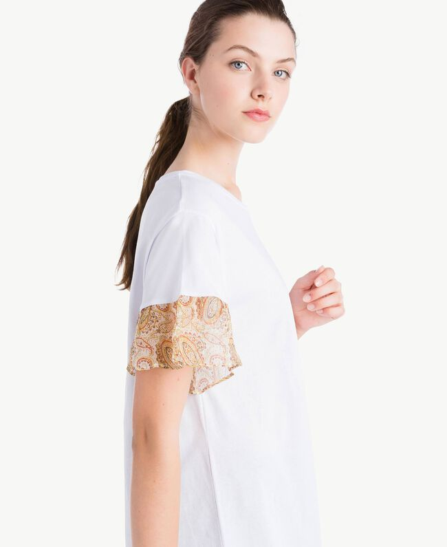 T-shirt with lace sleeves White Woman NS82AQ-04