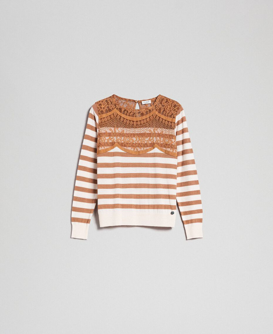 "Wool blend jumper with stripes and lace Creamy White / ""Sequoia"" Beige Woman 192ST3010-0S"