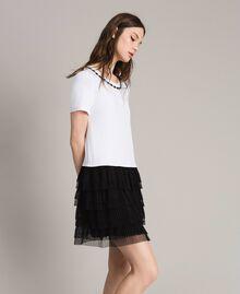 Kleid mit Stickerei und Tüllrock Zweifarbig Weiß / Schwarz Frau 191MP2234-01