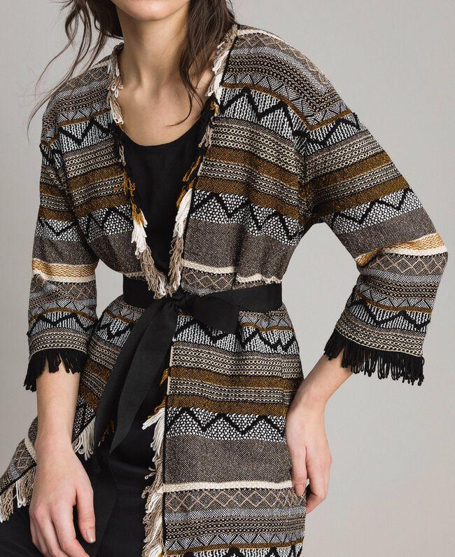 Cardigan oversize avec détails incrustés et franges Rayures Multicolore Gris Neutre Femme 191TT3160-04