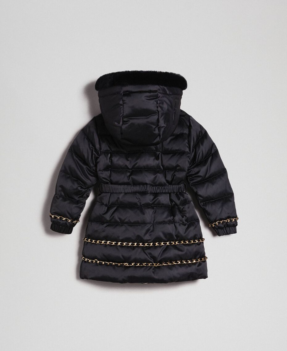 Long puffer jacket with real down Black Child 192GB2060-0S