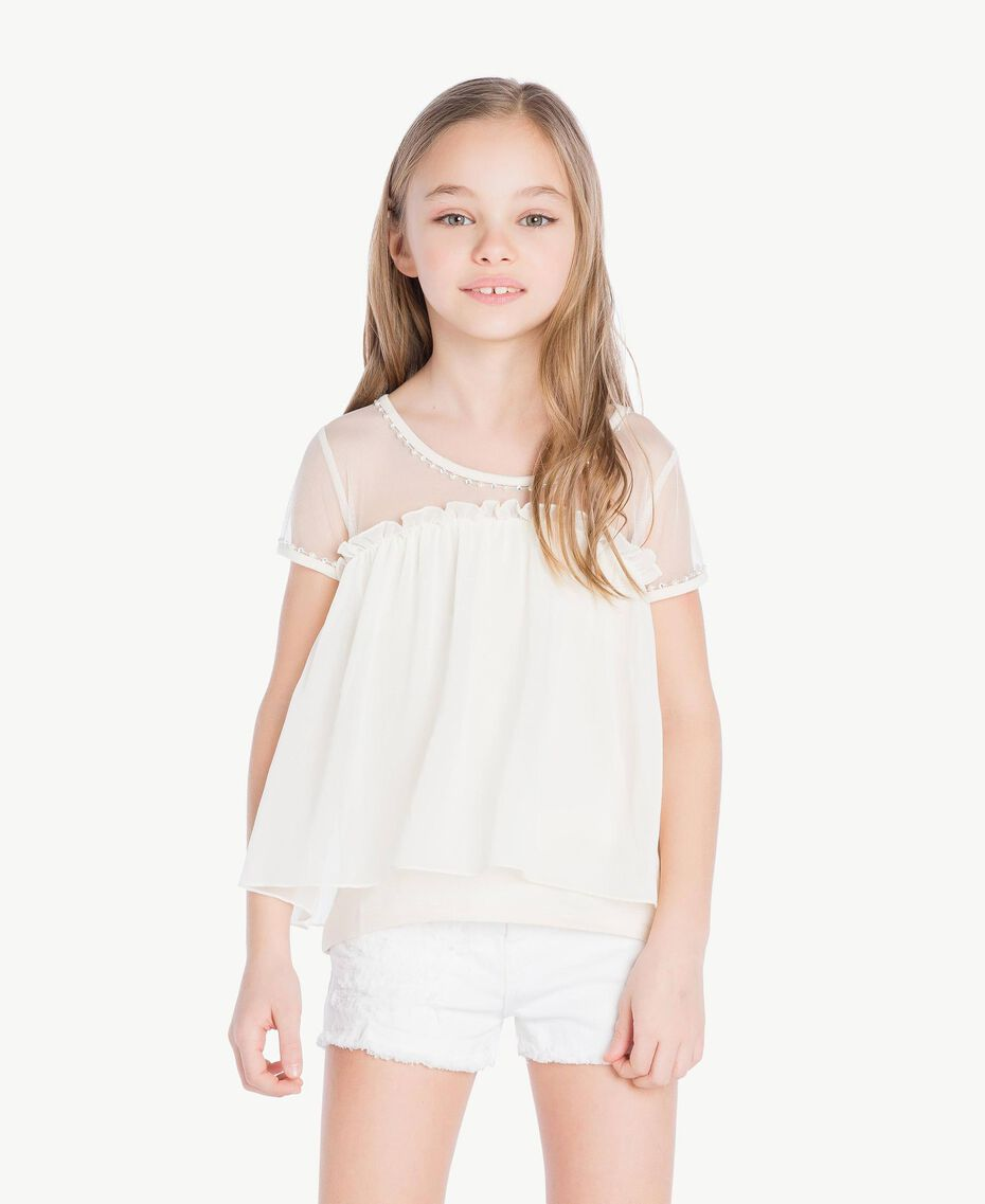 Embroidered blouse Pale Cream Child GS82B2-02