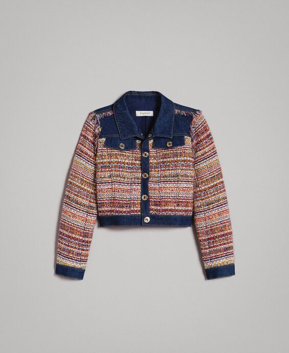 Bouclé jacket with inserts
