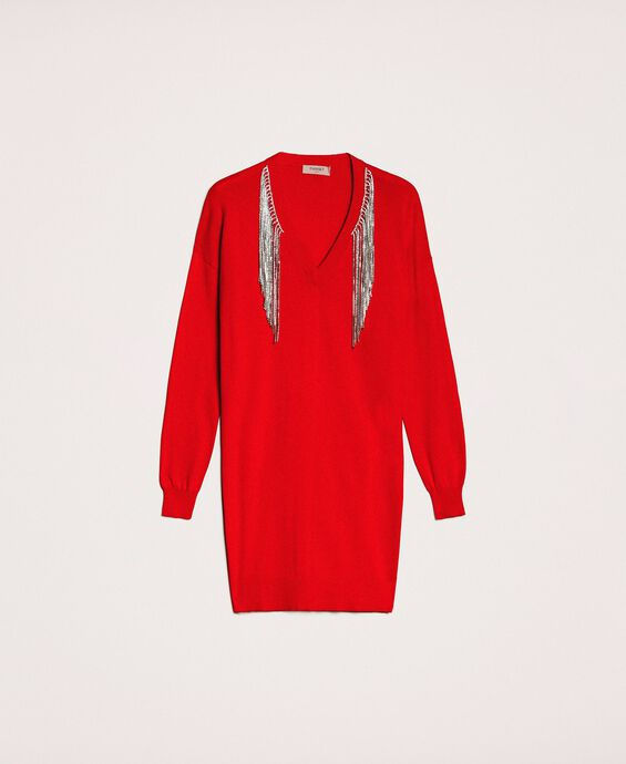 Dress with rhinestone fringes