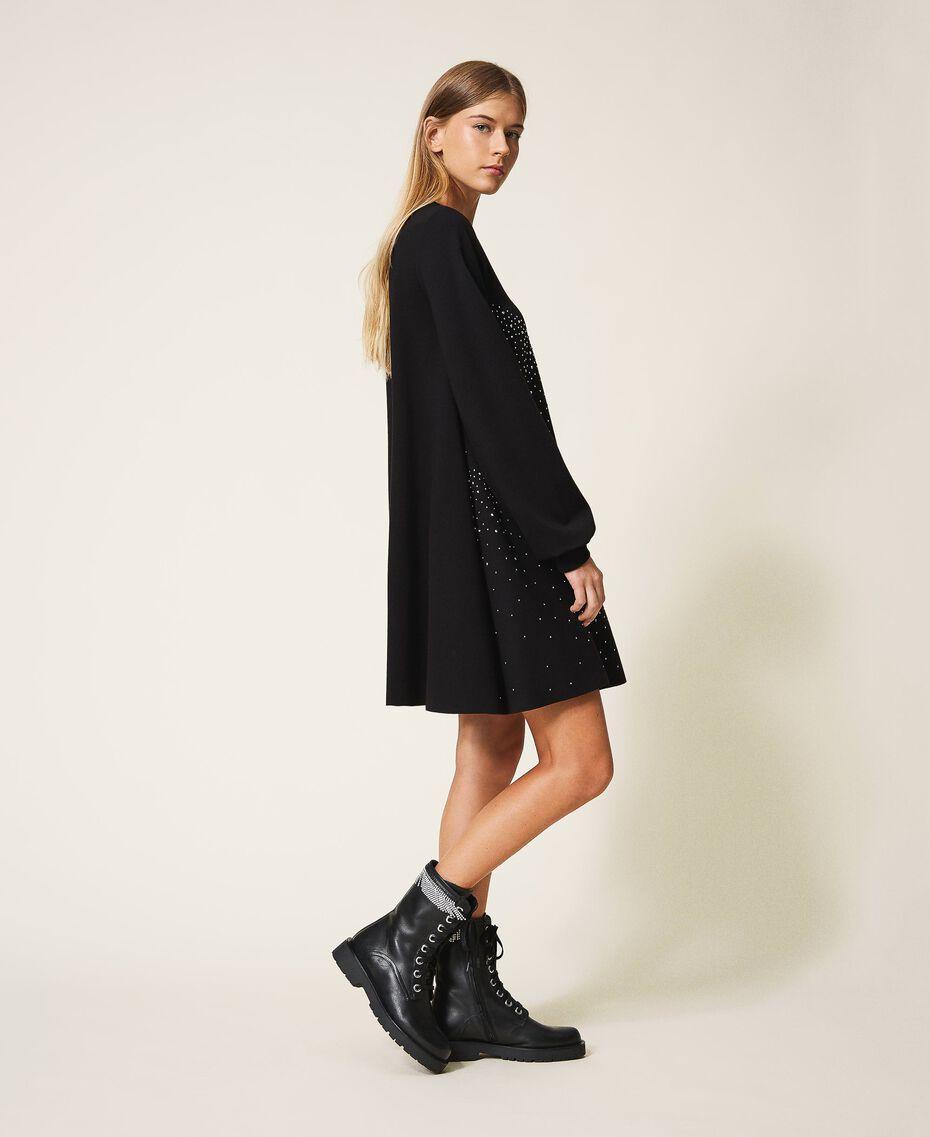 Kleid mit Nieten und Strass Frau, Schwarz | TWINSET Milano