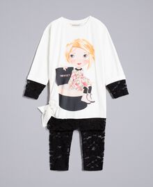 Printed t-shirt and lace leggings Bicolour Off White / Black Child FA821V-01