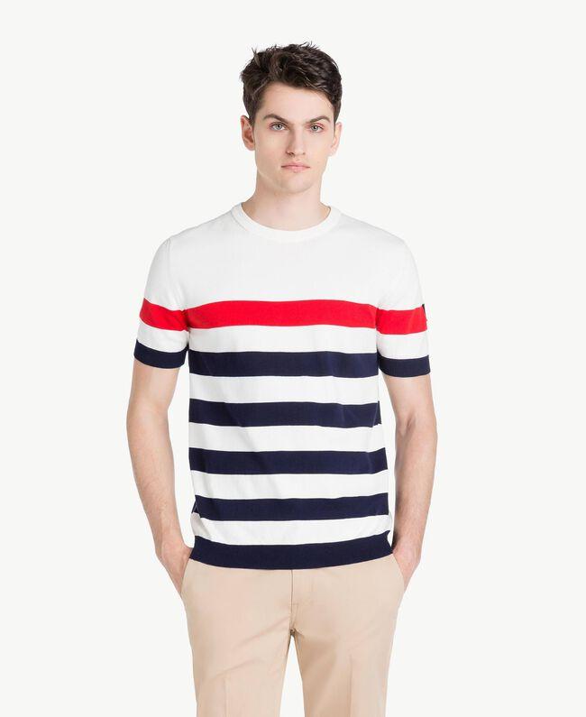 Pullover mit Streifen Multicolor Mattweiß / Geranienrot / Blackout-Blau Mann US8311-01