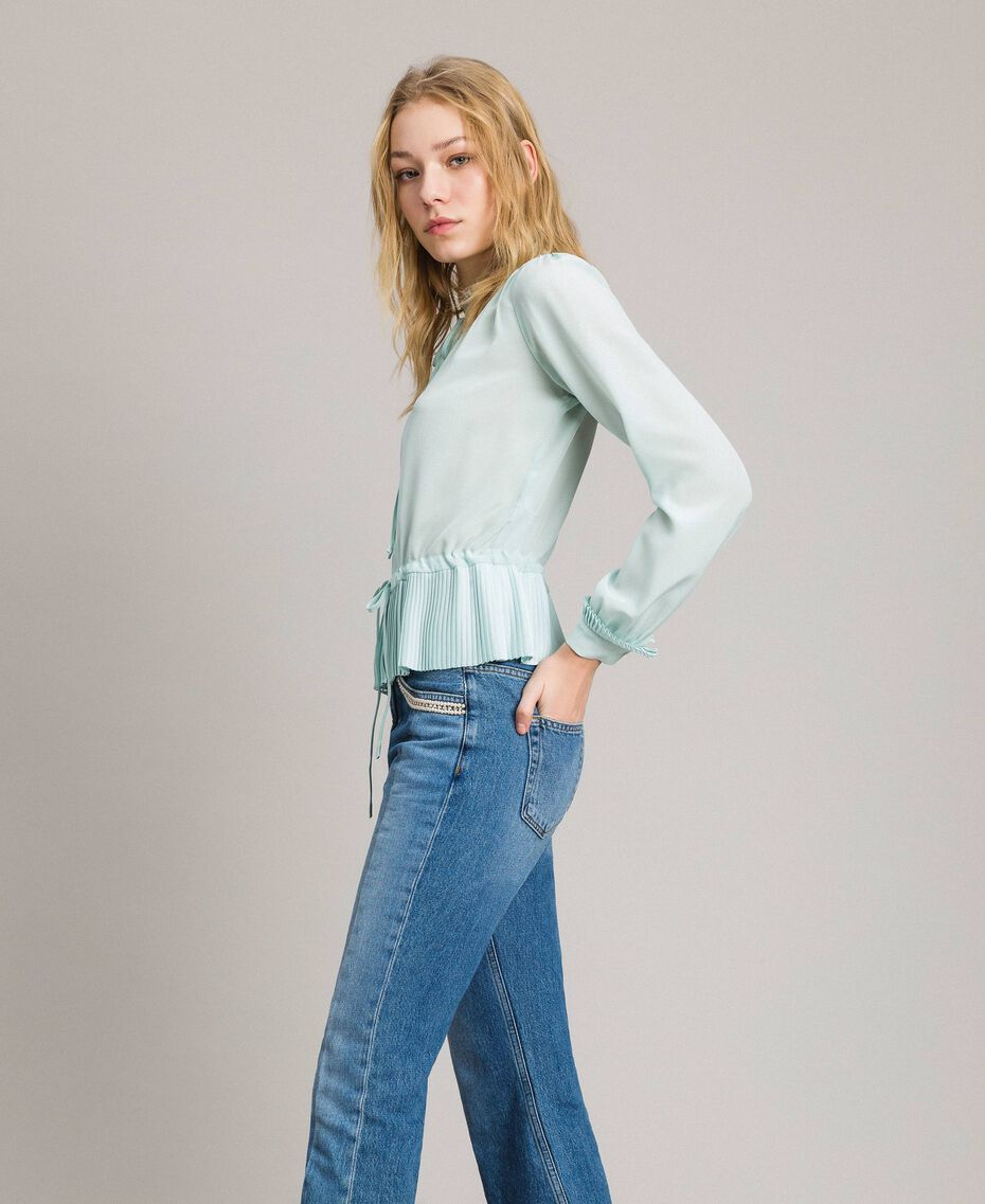 Pleated silk blend shirt Acquamarine Woman 191TP2140-02
