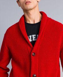 Cardigan aus Wolle und Alpaka Rot Mohn Mann UA83DB-05