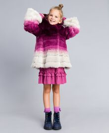 "Faux fur reversible jacket ""Grape"" Purple / ""Bougainvillea"" Pink Gradient Print Child GA82AR-0S"