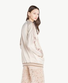 """Satin bomber Two-tone """"Rope"""" Beige / """"Amphora"""" Brown Woman SS82EA-03"""