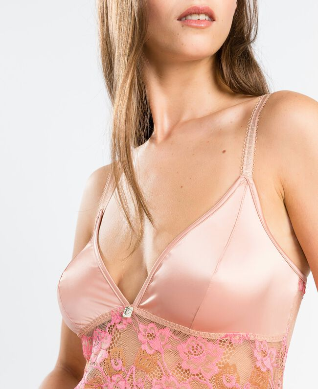 "Sottoveste con pizzo bicolore Bicolor Royal Pink / Marrone ""Amber Dust"" Donna IA8ABB-04"