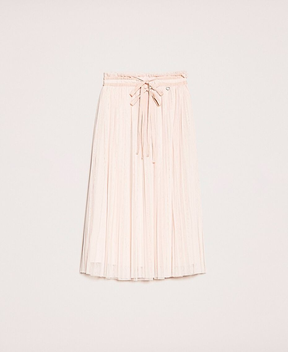 Jupe mi-longue en tulle plissé Quartz Rose Femme 201MP2122-0S