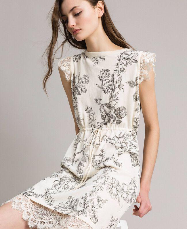 Robe en maille fantaisie Gros Imprimé Fleur Noir Femme 191TT3180-01