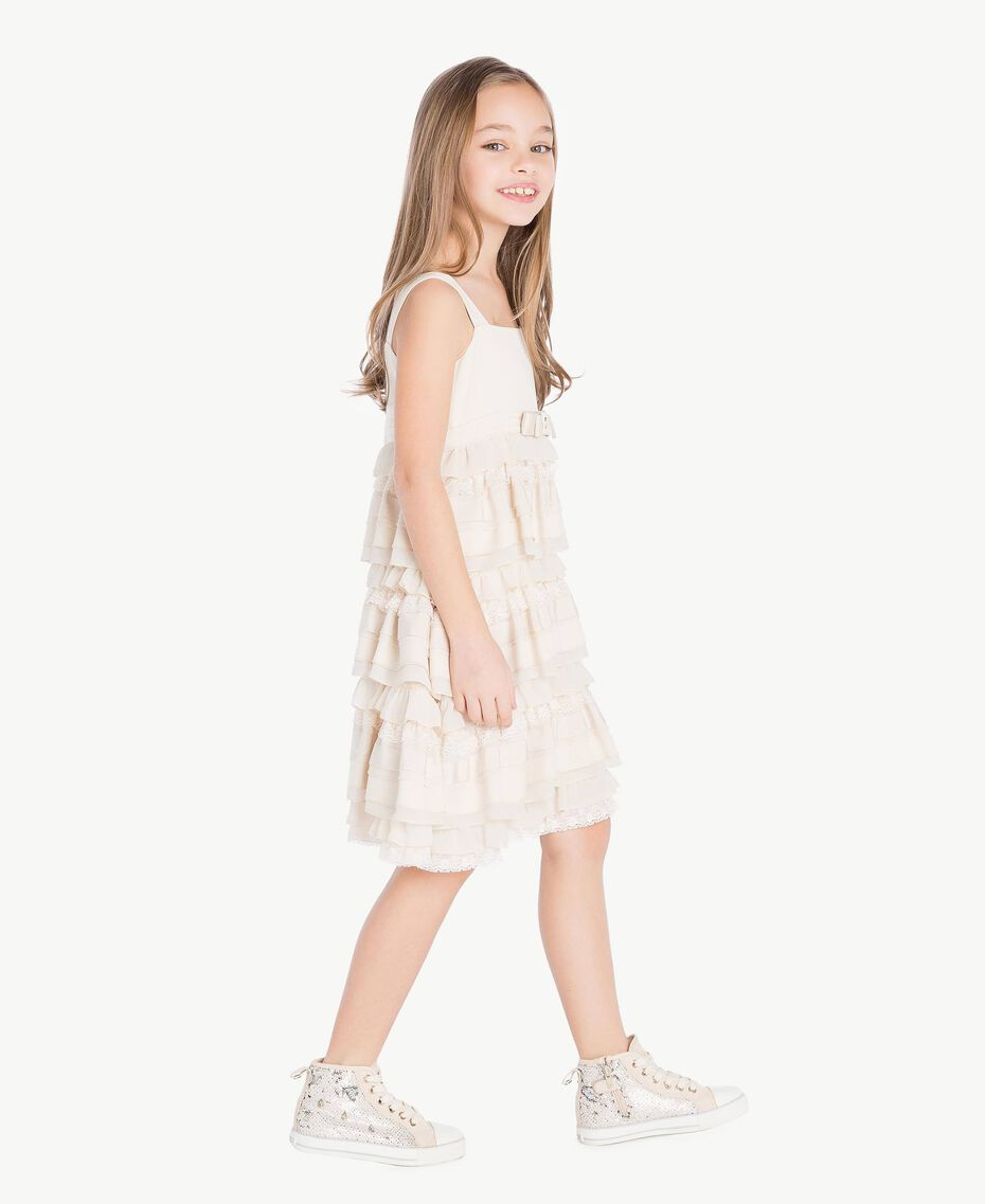 Flounced dress Pale Cream Child GS8LBG-03