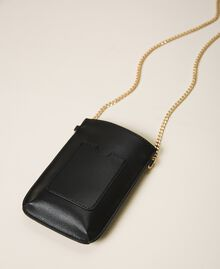 Faux leather phone holder Black Woman 202TD8118-02