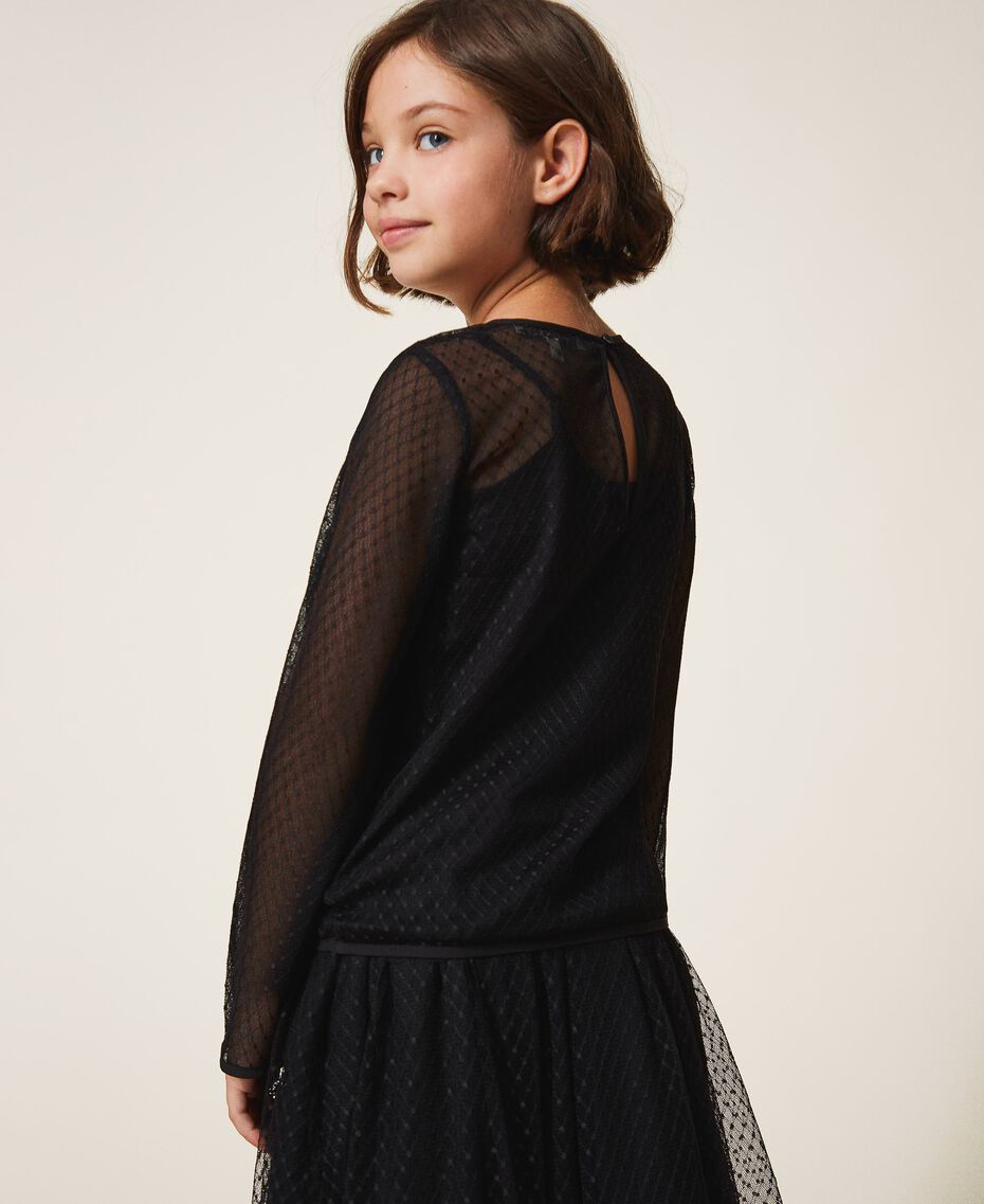 Tulle blouse with embroidery Black Child 202GJ2611-03