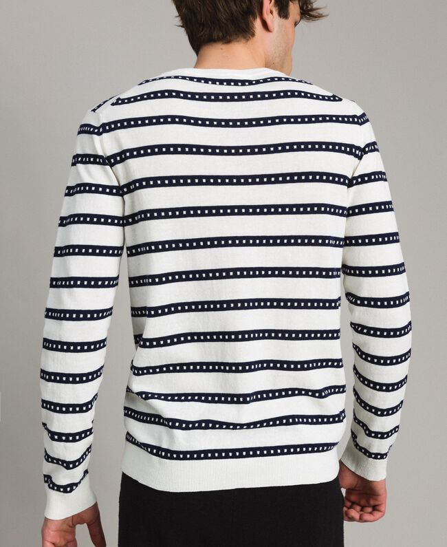 "Crêpe cotton striped jumper Two-tone Opaque White / ""Blackout"" Blue Man 191UT3031-03"