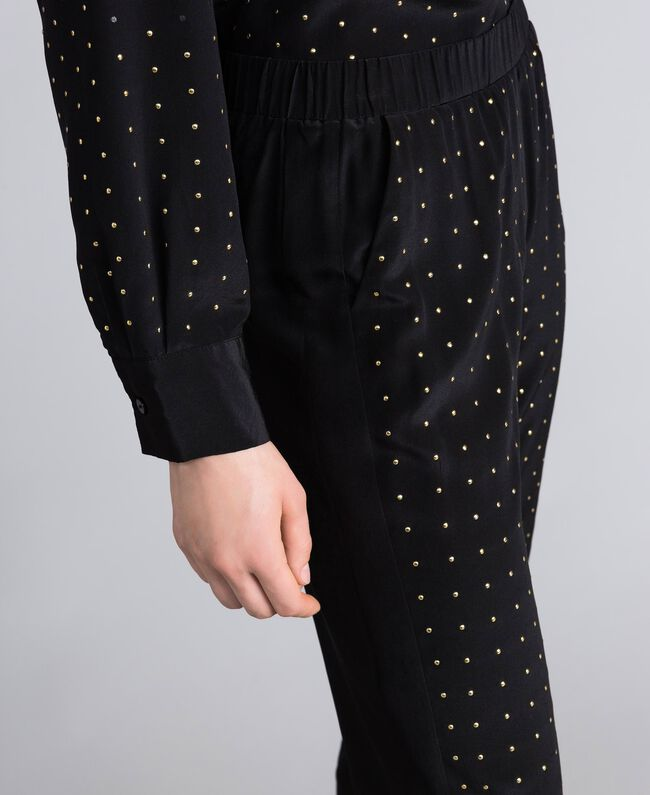 Studded silk jogging trousers Black Woman PA82EV-04