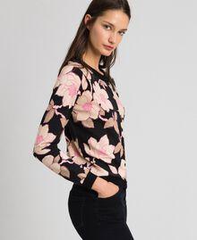 Cardigan-pull avec imprimé floral Imprimé Fleur Noir Femme 192LL3KRR-02