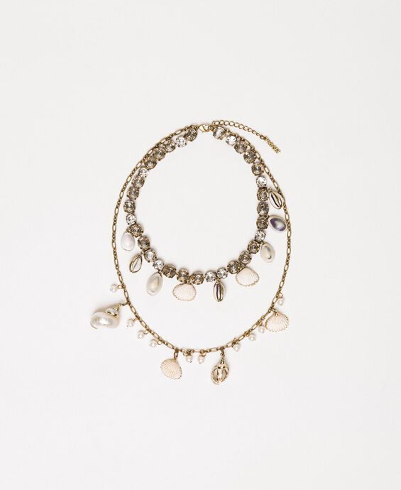 Collana con conchiglie e perle pendenti
