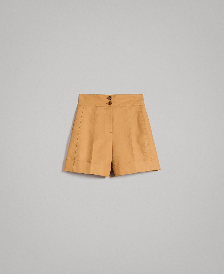 "Technical cotton shorts ""Mid Tan"" Brown Woman 191TP2182-0S"
