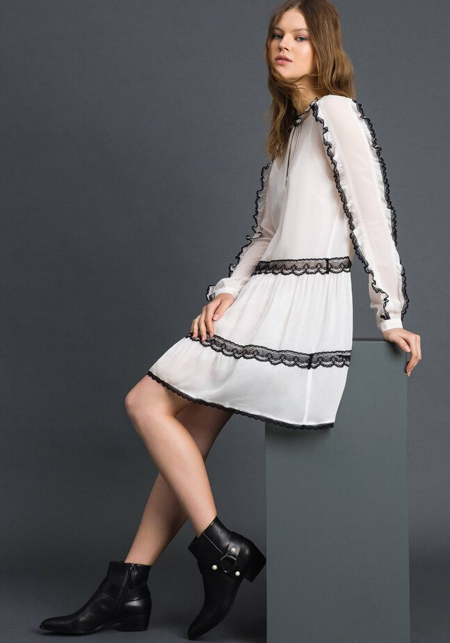 Georgette dress with micro frills and lace