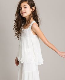 Pleated georgette top with lace Off White Child 191GJ2QA0-0S