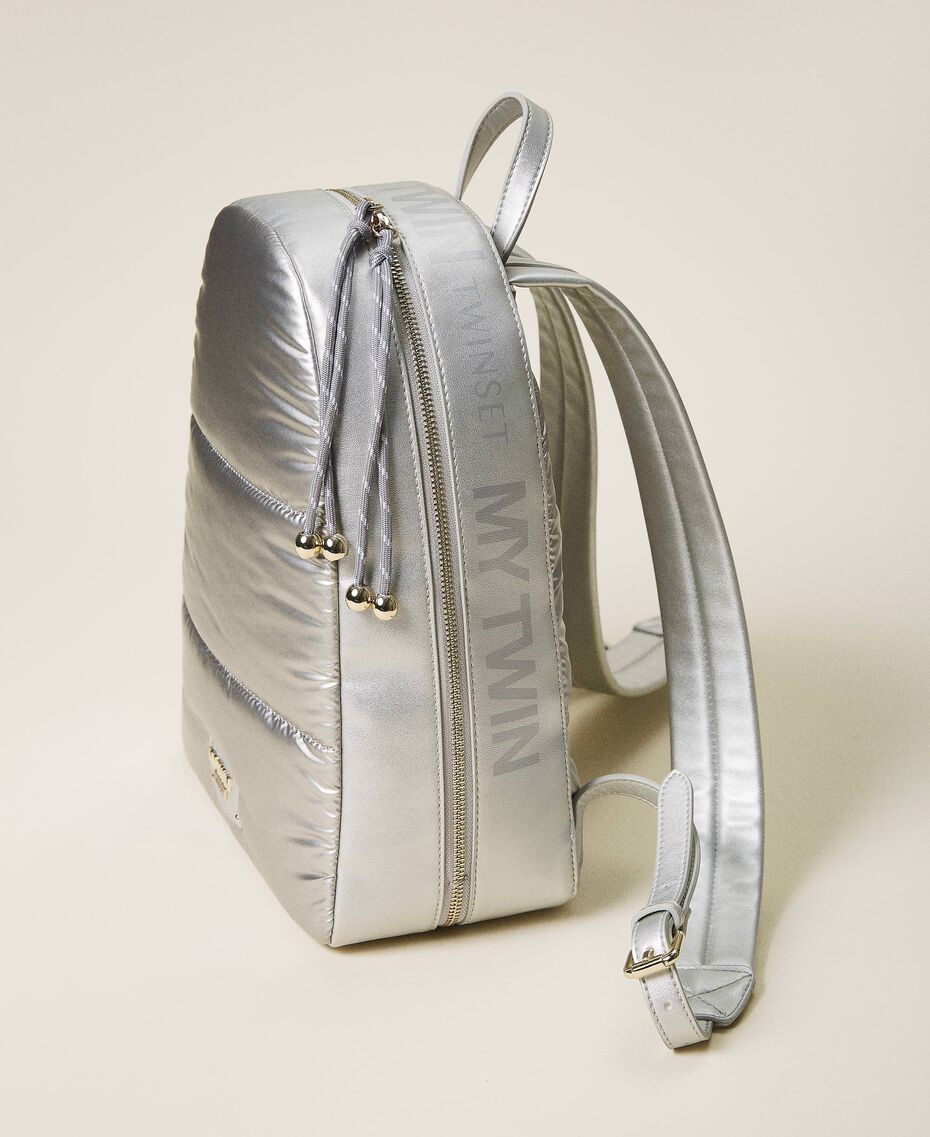 Quilted backpack with logo Silver Woman 202MO8020-01