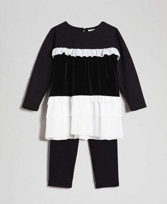 Flounce blouse and leggings
